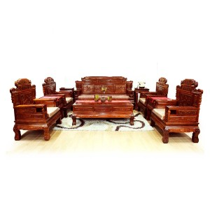 Solid Rosewood Imperial Sofa Suite & Throne Chair 11 Pcs Set Wealth Design Flower & Bird Carvings Natural Finish - LK031-C11 1/11 PCS
