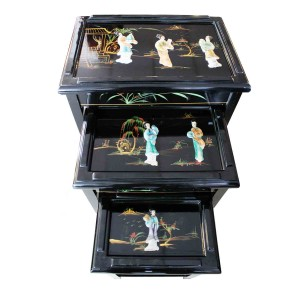 Solid Wood Black Lacquer Finish Nest of 3 Table With Geisha Inlaid With Mother Of Pearl Horse Shoe Leg  Design Glass Top - LK-HA/1948