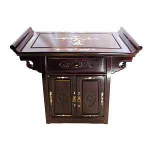 Dark Cherry Rosewood Chinese Altar Cabinet Grape Carvings With Mother Of Pearl Inlaid - LK 0000154 C3.5
