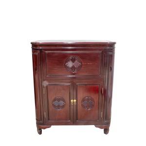 Solid Rosewood Flip Top Bar Cabinet Longevity Symbol Dark Cherry Finish - LK02/000141
