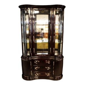 Rosewood Kidney Shape Display Cabinet with Mother of Pearls Inlaid Dark Cherry Finish - LK040004774M