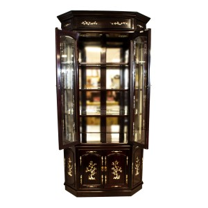 Rosewood Diamond Shape Display Cabinet with Mother of Pearls Inlay Dark Cherry Finish - LK04000954C3.5