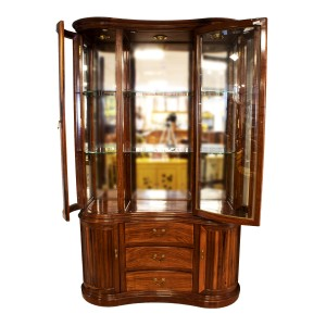 Rosewood Kidney Shape Display Cabinet with Mother of Pearls Inlaid Natural Finish - LK04004754