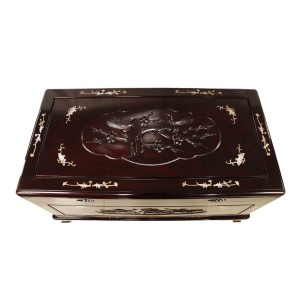 Dark Cherry Multi square Solid Rosewood Camphor Chest Inbuilt Flower And Bird Carvings With Mother of Pearl Inlaid - LK 08-000254L