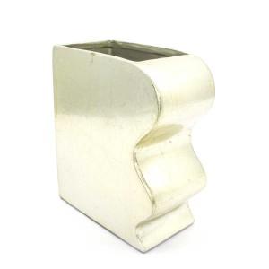 Asian Art Hand Crafted Flat Porcelain Planter Flower Vase Small - Golden Finish - LK12V-PV01