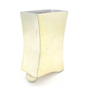 Asian Art Hand Crafted Flat Porcelain Planter Flower Vase Small Golden Finish - LK12V-PV04