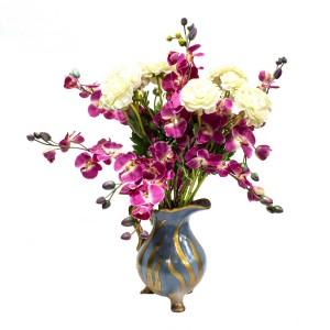 Asian Art Hand Made Hand Painted Porcelain Planter Flower Vase Water Jug Shape Gold Blue Color - LK14V-PV03