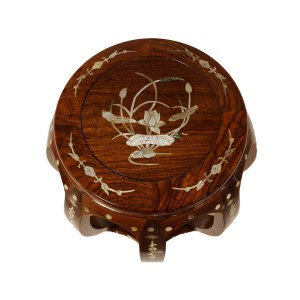 Solid Rosewood Large Drum Stool with Mother of Pearls Inlaid Natural - LK20/00054NL
