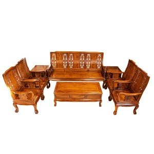 Solid Rosewood Highback Sofa Set 8 Pcs Set Closed Carvings Natural Finish Tiger Leg Pattern - LK69/001074M/8