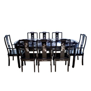 Dark Cherry 80″ Rosewood Dining Table 9 Pc Set With Mother Of Pearls Inlaid On Table and Chairs - LK73/000511AM