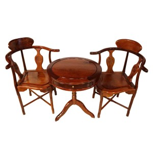 Natural Solid Rosewood Corner Round Table And Chairs Hand Polished Natural Finish - LK74-000541