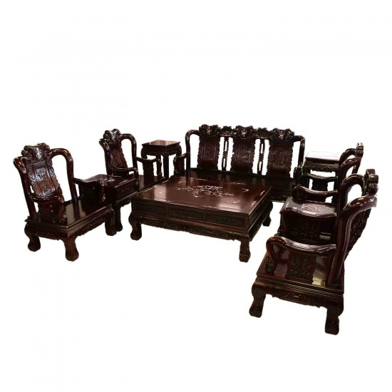 Solid Rosewood Sofa & Chair 10 Pcs Set Peach Open Carvings With Mother Of Pearls Inlaid Dark Cherry Red Finish - LK77/000254/10