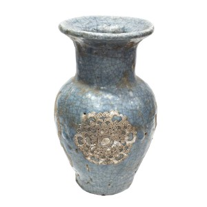Antique Look Pottery Planter Flower Vase For Home Decoration And Antique Collection Blue  - LKANTIQUEV05