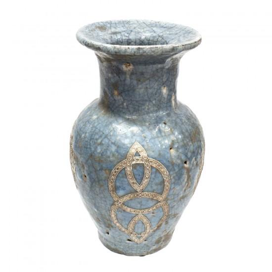 Antique Look Pottery Planter Flower Vase For Home Decoration And Antique Collection Blue  - LKANTIQUEV05