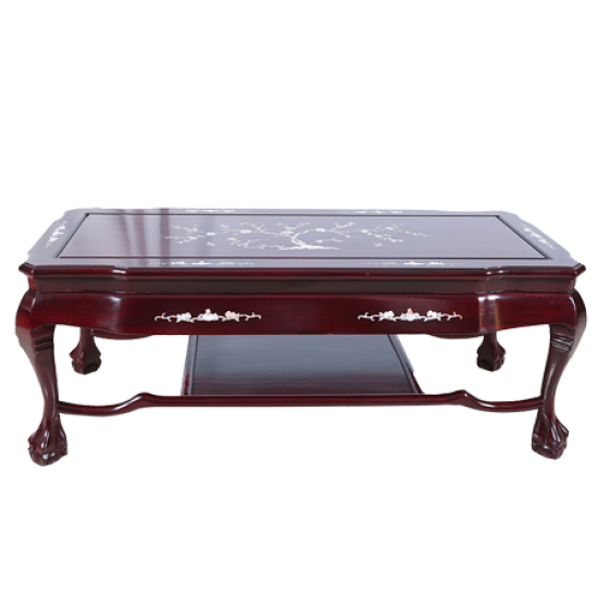 Dark Cherry Mother of Pearl Inlaid Rosewood Royal Palace Coffee Table - LK B5