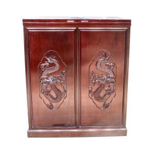 Solid Rosewood Flip Top Bar Cabinet Handmade Dragon Carvings Dark Cherry Finish - LKBAR 05