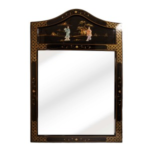 Black Lacquer Wood Panel Oriental Mirror With Maiden Figure From Mother Of Peral Arched Top - LKH5168-01