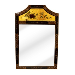 Black Lacquer Wood Panel Oriental Mirror With Arched Top Floral Design Gold Color Plating - LKH5168-02