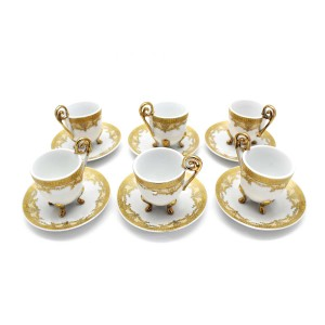 China vintage Iridescent Footed Gold Cut-out Tea Cup Set - LKJW-TS04