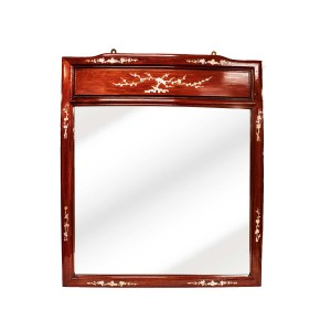 Dark Cherry  Mahogany Color Rosewood  Asian Vertical Mirror With Mother of Pearl Inlaid - LPK-M(35X45)