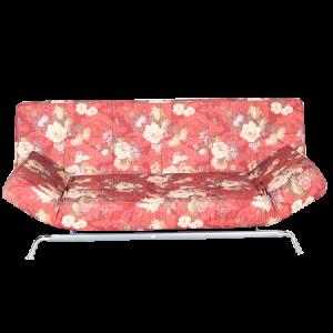 Three Seater Sofa Cum Bed Floral Design Red Color - MDF MR801