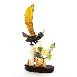 Artificial Jade Eagle On Cliff & Floral Design Figurines Wooden Platform Home Decor - NS-JADECLEAG01