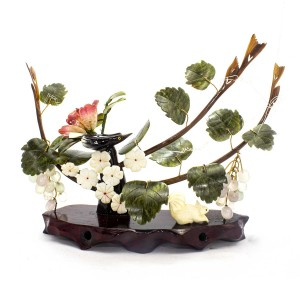 Artificial Jade Figurines Animals, Birds and Grapes With Flower Plant Carved In Jade Stone On Wood- NS-JADEGR-02