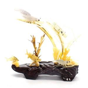 Artificial Jade Ocean Life Shrimps & Fish On Wooden Platform Small - NS-JADESEACR02