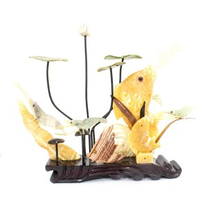 Artificial Jade Sea Life Figurines Shrimps & Fish With Lotus Leaves On Wooden Platform Medium - NS-JADESEACR07