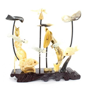 Artificial Jade Sea Life Figurines Shrimps & Fish With Sea Horns And Lotus Leaves Dragon Fly On Wooden Platform Medium - NS-JADESEACR14