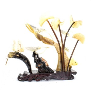 Artificial Jade Sea Life Figurines Shrimps & Fish With Sea Horns And Lotus Leaves On Wooden Platform Medium - NS-JADESEACR15