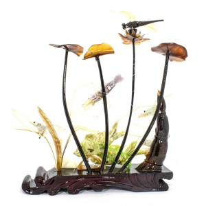 Artificial Jade Sea Life Figurines Shrimps & Fish With Sea Horns And Lotus Leaves Dragon Fly On Wooden Platform Medium - NS-JADESEACR16