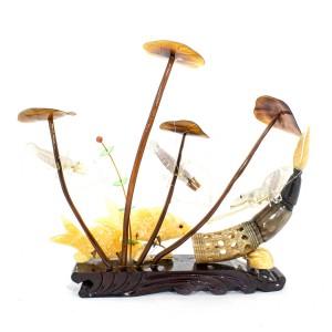 Artificial Jade Sea Life Figurines Shrimps & Fish With Sea Horns And Lotus Leaves On Wooden Platform Medium - NS-JADESEACR18