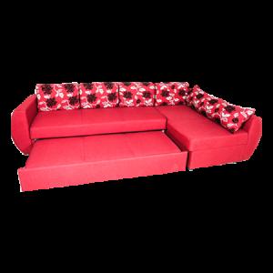 L Shape 5-Seater Fabric Corner Sofa Cum Bed Red - MDF OP917