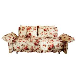 Three Seater Sofa Cum Bed Floral Design White Color - MDF MR908