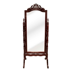 Dark Cherry Solid Rosewood Floral Carving Vertical Standing Mirror - SW MIR