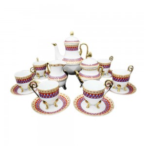 China vintage Iridescent Footed Gold Cut-out Tea Cup Set - LKJW-TS01