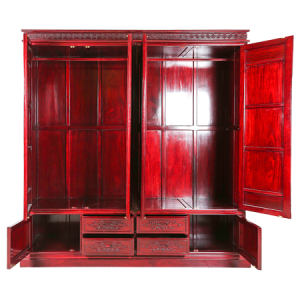 Solid Rosewood Four Door Wardrobe with Dark Red Cherry  - D-B02