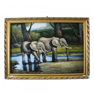 Handmade Original Animal Portrait Of Elephant In Oil Painting With Detailed Edging In Wooden Frame Single Copy CPOILP-10