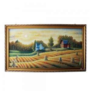 Autumn Landscape Farm Field Barn Oil Painting on Canvas Original Single Copy CPOILP-13