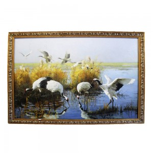 100% Hand Painted Decorative Crane Oil Painting Longevity Original Chinese Crane Art Single Copy CPOILP-6