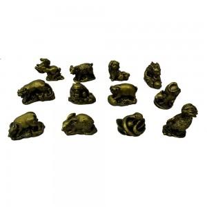 Asian Oriental Brass Color Poly Animal Zodiac Sign Figurines 12 Pcs Set - YFMZOD01
