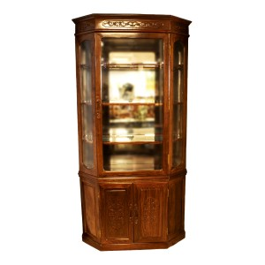 Rosewood Diamond Shape Display Cabinet French Flower Carvings Natural Finish - YS-NO717