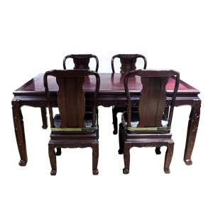Dark Cherry Solid Rosewood Dining Table Set 5 Pc Set Carvings On Table And Chairs - YSCT01