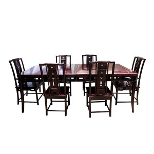 Dark Cherry 7 Piece Elegant Oriental Dining Table Set Rectangular Shape - YSN0617
