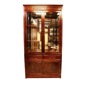 Rosewood Curio  Display Cabinet with French Flower Carvings Dark Red Finish - YSNO88