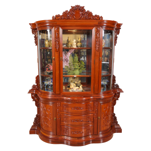 """Solid Rosewood Natural 68"""" Curve Shape Display Cabinet - DF-B018W"""