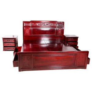 Solid Rosewood Queen Size Bed  with Two Nightstand Dark Cherry Finish - D-A10