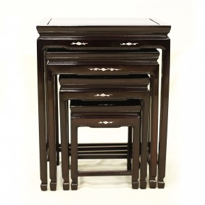 Solid Rosewood Nest of 4 Tables Horse Shoe Leg with Mother of Pearls Inlaid Dark Cherry Finish-LK32/000454