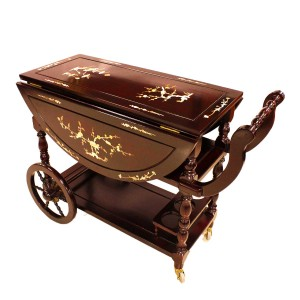Solid Rosewood Drop Leaf Tea Trolley / Serving Cart with Mother of Pearls Inlaid Dark Red Cherry  LK93-000454C3